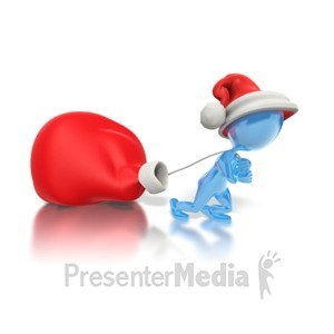 ID# 1576 - Dragging Santas Bag  - Presentation Clipart