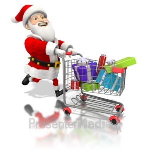 ID# 1588 - Santa Pushing Shopping Cart - Presentation Clipart