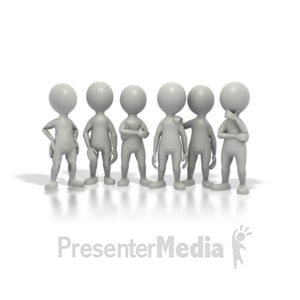 ID# 1590 - Group Stick Figures Standing Together - Presentation Clipart