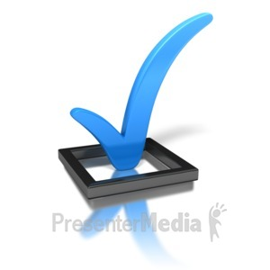 ID# 1617 - Blue Check Mark In Box - Presentation Clipart
