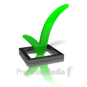 ID# 1618 - Green Check Mark In Box - Presentation Clipart