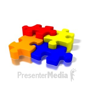 ID# 1622 - Four Colorful Puzzle Pieces - Presentation Clipart