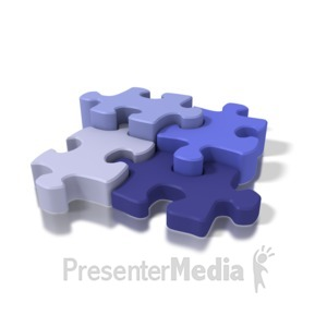 ID# 1623 - Four Blue Puzzle Pieces - Presentation Clipart
