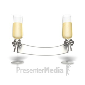 ID# 1625 - Champagne Blank Sign - Presentation Clipart