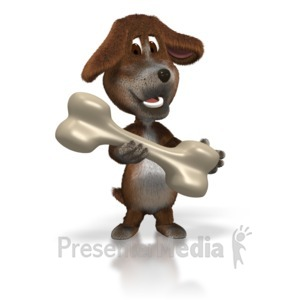 ID# 1627 - Dog with Giant Bone - Presentation Clipart