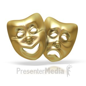 ID# 1629 - Comedy Tragedy Theater Masks - Presentation Clipart