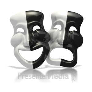 ID# 1632 - Black and White Theater Masks - Presentation Clipart