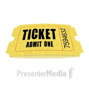 ID# 1636 - Single Movie Ticket - Presentation Clipart