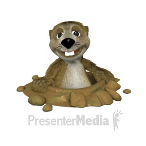 ID# 1653 - Groundhog In Hole - Presentation Clipart