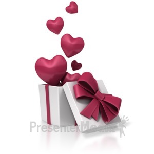 ID# 1664 - Valentines Day Box Of Hearts - Presentation Clipart