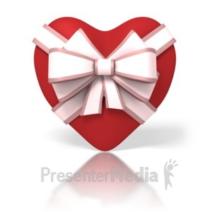 ID# 1667 - Heart With Ribbon - Presentation Clipart