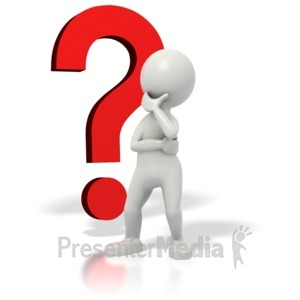 ID# 1680 - Stickman Question Mark Thinking - Presentation Clipart
