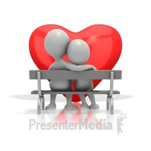 ID# 1683 - Couple Sitting On Bench By Heart - Presentation Clipart