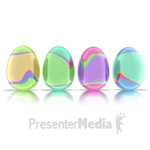 ID# 1695 - Four Retro Eggs  - Presentation Clipart