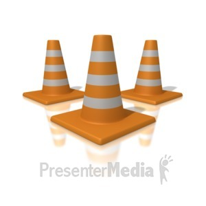 ID# 1708 - Orange Traffic Cones - Presentation Clipart