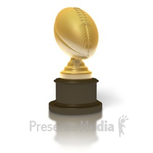 ID# 1714 - Gold Football Trophy - Presentation Clipart