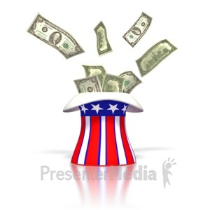 ID# 1720 - Uncle Sam Money Tax Hat  - Presentation Clipart