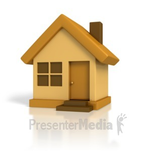 ID# 1726 - 3D Cartoon House - Presentation Clipart