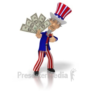 ID# 1727 - Uncle Sam Holding Money  - Presentation Clipart