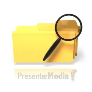 ID# 1729 - Magnifying Glass Search Folders - Presentation Clipart