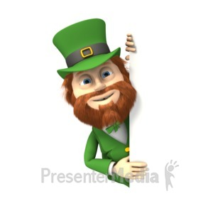 ID# 1731 - Leprechaun Peek Around Page - Presentation Clipart