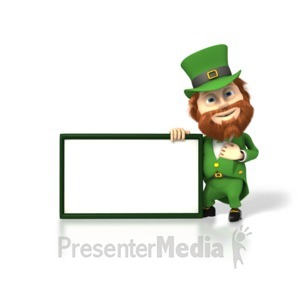 ID# 1732 - Happy Leprechaun With Sign - Presentation Clipart