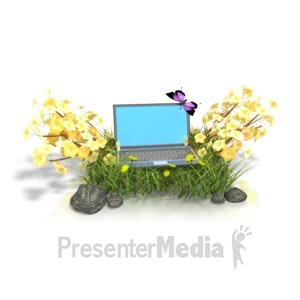ID# 1735 - Laptop In Flowers  - Presentation Clipart