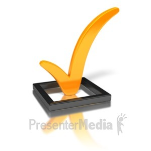 ID# 1740 - Orange Check Mark In Box - Presentation Clipart