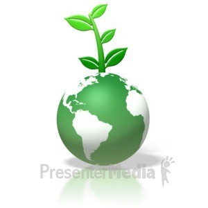 ID# 1745 - Green Earth Leaves Growing On Top - Presentation Clipart