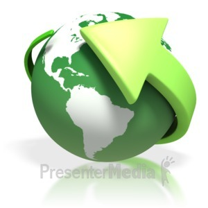 ID# 1748 - Green Earth Round Arrow - Presentation Clipart