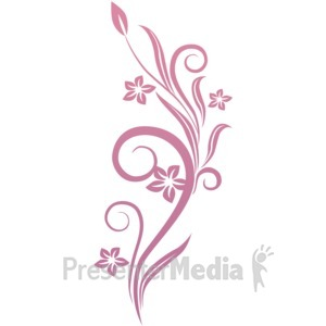 ID# 1749 - Vines Swirl Pink Flowers - Presentation Clipart