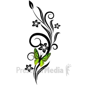 ID# 1757 - Black Vines Grunge With Butterfly - Presentation Clipart