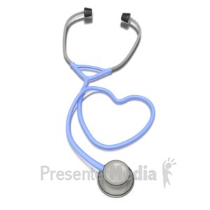 ID# 1758 - Heart Stethoscope  - Presentation Clipart