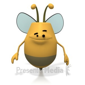 ID# 1762 - Bee Smiling Happy - Presentation Clipart