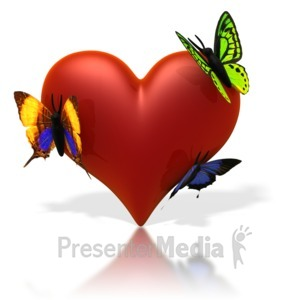 ID# 1763 - Butterflies Resting On Heart - Presentation Clipart