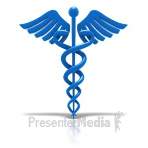 ID# 1783 - Caduceus - Blue Medical Health Symbol  - Presentation Clipart