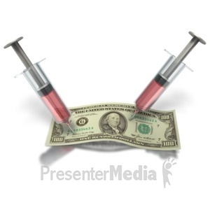 ID# 1787 - Syringe In Money - Presentation Clipart