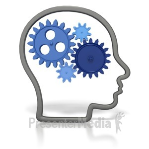 ID# 1794 - Gears In Head Outline  - Presentation Clipart