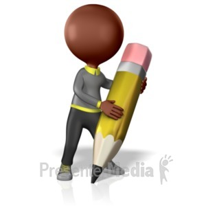 ID# 1842 - Student With Giant Pencil - Presentation Clipart