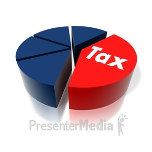 ID# 1843 - Tax Text Pie Graph - Presentation Clipart