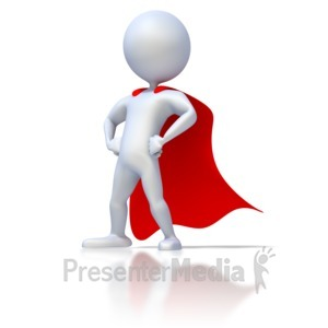 ID# 1852 - Stick Figure Superhero - Presentation Clipart