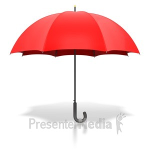 ID# 1855 - Red Umbrella Standing Upright - Presentation Clipart
