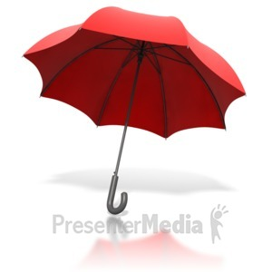 ID# 1859 - Red Umbrella Angled - Presentation Clipart