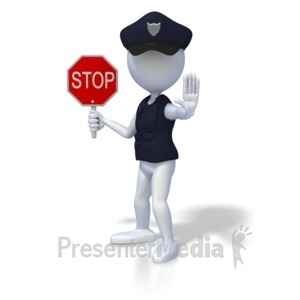 ID# 1876 - Police Officer Stop - Presentation Clipart