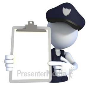 ID# 1881 - Police Officer Clipboard - Presentation Clipart