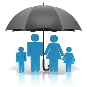 ID# 1884 - Stick Figure Blue Family Under Umbrella - Presentation Clipart