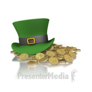 ID# 1892 - Irish Hat And Gold - Presentation Clipart