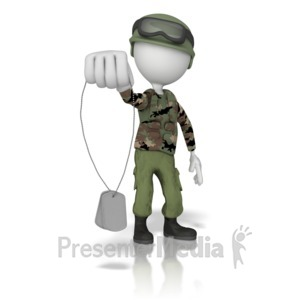 ID# 1897 - Army Character Holding Dogtags - Presentation Clipart