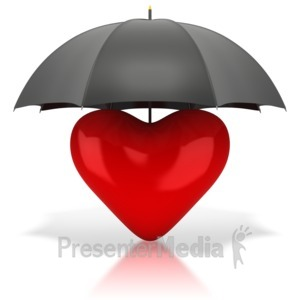 ID# 1900 - Heart Under Umbrella - Presentation Clipart