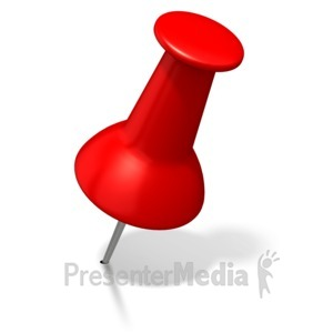 ID# 1902 - Red Thumbtack Angled Right - Presentation Clipart
